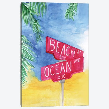 Beach Avenue Canvas Print #RDE58} by Rongrong DeVoe Canvas Wall Art