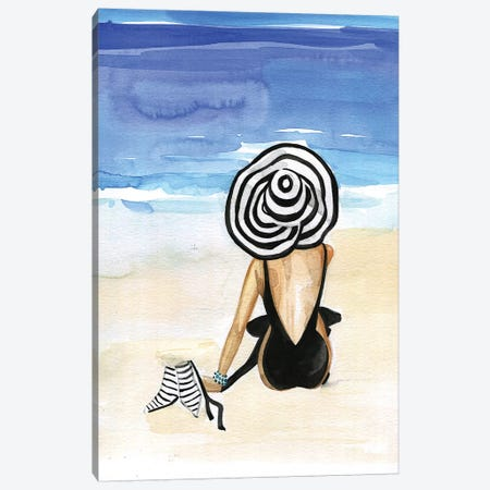 Beach Time Canvas Print #RDE59} by Rongrong DeVoe Canvas Artwork