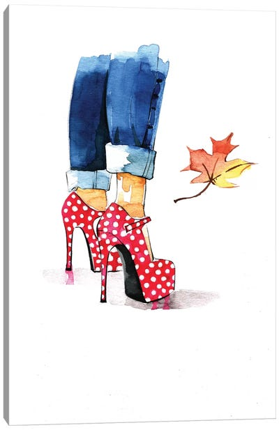 Red Dots Heels Canvas Art Print