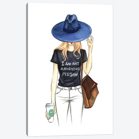 I Am Not A Morning Person Canvas Print #RDE71} by Rongrong DeVoe Canvas Wall Art