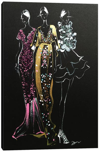 Inspired Fashion Illustration (Couture Gowns) Canvas Art Print