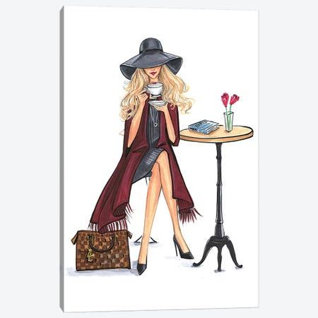 Lady Latte (Blonde) Canvas Print #RDE73} by Rongrong DeVoe Canvas Artwork