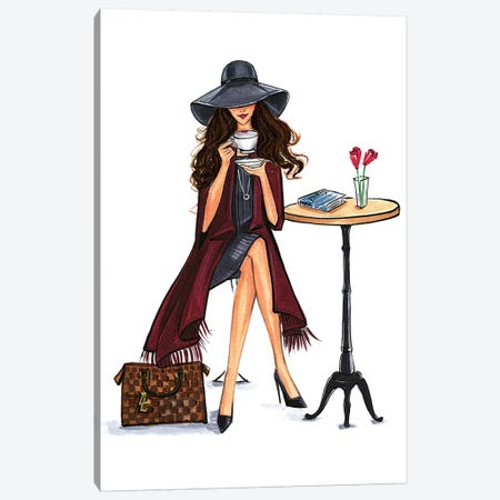 Lady Latte (Brunette) Canvas Print #RDE74} by Rongrong DeVoe Canvas Art Print