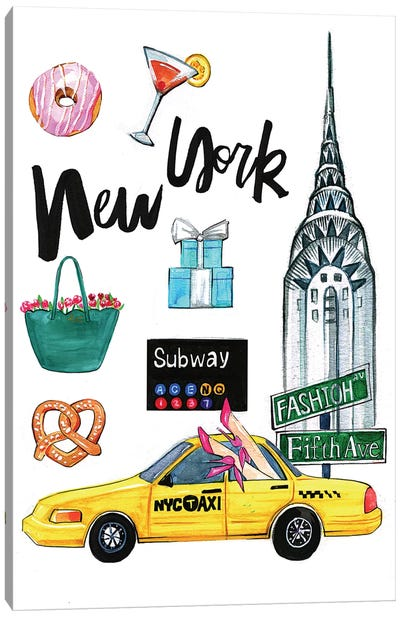 New York by Rongrong DeVoe Canvas Art Print