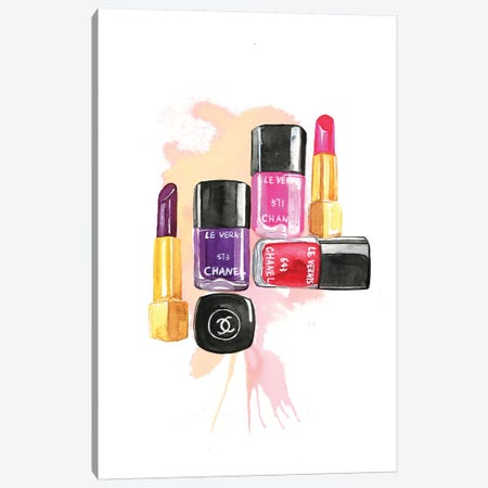 Nail Polish And Lipstick Canvas Print #RDE84} by Rongrong DeVoe Canvas Art