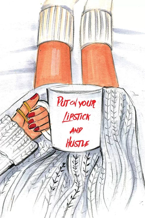 Put On Your Lipstick And Hustle Canvas Artwork By Rongrong Devoe Icanvas