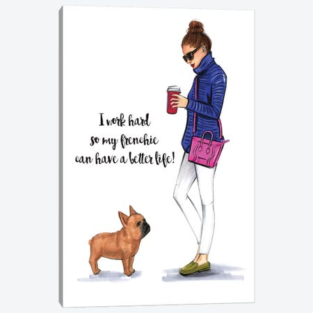 Frenchie Love Canvas Print #RDE92} by Rongrong DeVoe Canvas Art