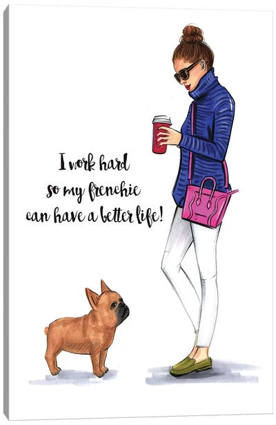 Frenchie Love Canvas Print #RDE92