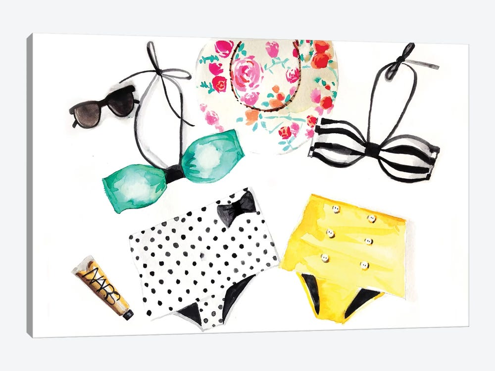 Summer Bikinis by Rongrong DeVoe 1-piece Canvas Wall Art