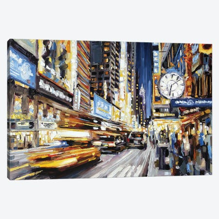 42nd Street At Dusk Canvas Print #RDI11} by Roger Disney Canvas Artwork