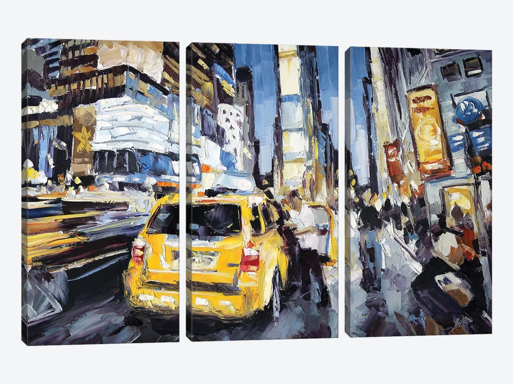 7th Ave & 45th by Roger Disney 3-piece Canvas Print