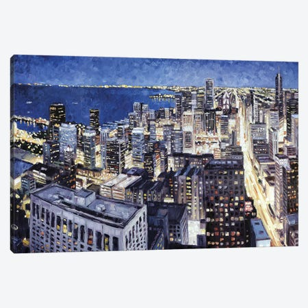 Chicago From The Hancock At Night Canvas Print #RDI32} by Roger Disney Canvas Wall Art