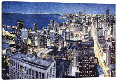 Chicago From The Hancock At Night Canvas Art Print
