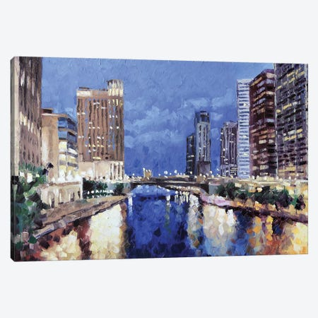 Chicago River Canvas Print #RDI33} by Roger Disney Canvas Wall Art