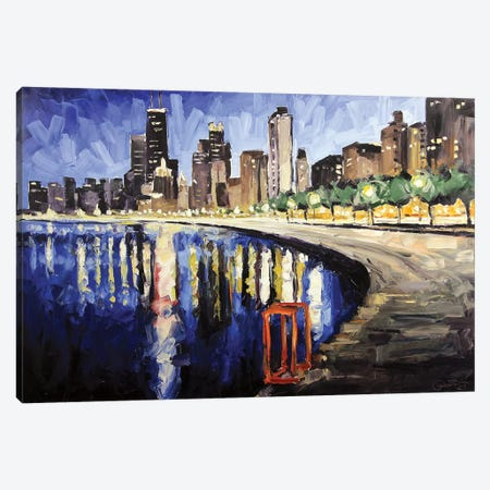 Lake Shore From Lincoln Park Canvas Print #RDI40} by Roger Disney Art Print
