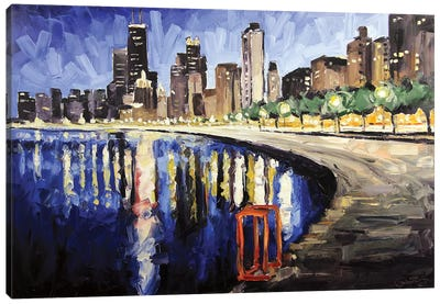 Lake Shore From Lincoln Park Canvas Art Print