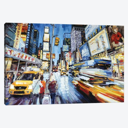 Times Square At Dusk Canvas Print #RDI70} by Roger Disney Canvas Art