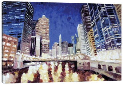 Chicago River From Lasalle Canvas Art Print