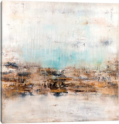 Golden Fields Touching Sky Blue Canvas Art Print