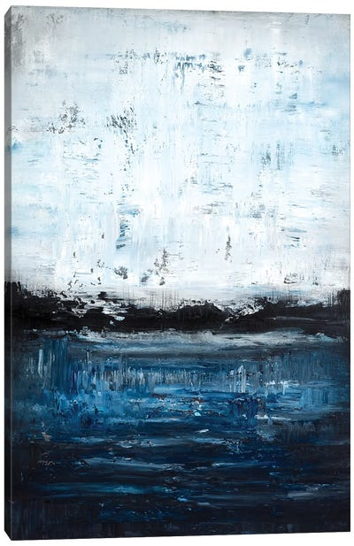 Midnight Blue Lakeside Canvas Art Print