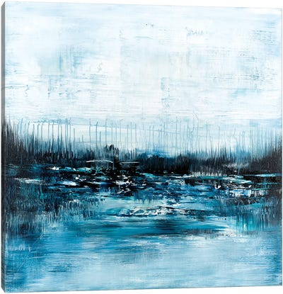 Blue Abstract Landscape Canvas Art Print