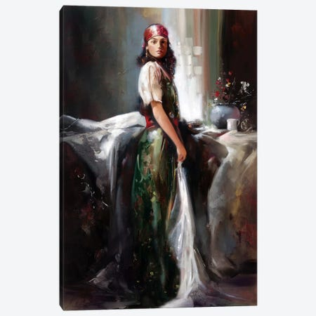 Girl By The Window Canvas Print #RDS38} by Ron Di Scenza Canvas Artwork