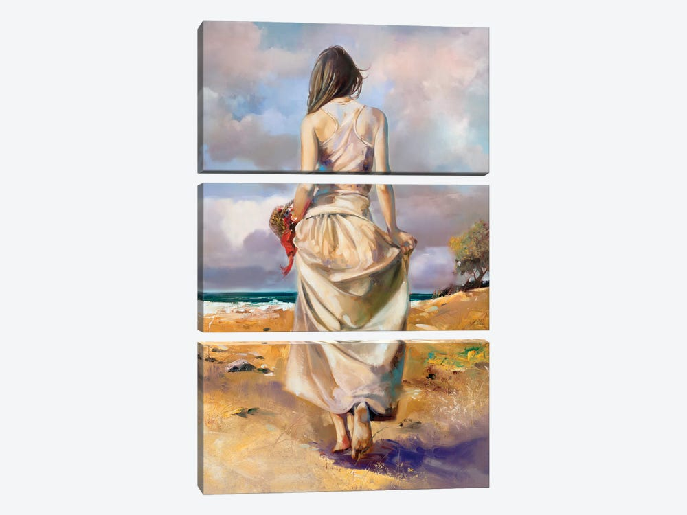 At The Beach by Ron Di Scenza 3-piece Canvas Art Print