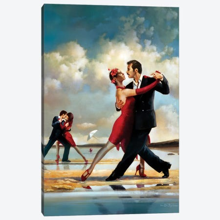 Tango On The Beach Canvas Print #RDS93} by Ron Di Scenza Canvas Wall Art