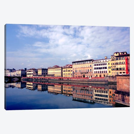 Riverbank Architecture Along Arno River, Florence, Tuscany Region, Italy Canvas Print #RDU1} by Richard Duval Canvas Print