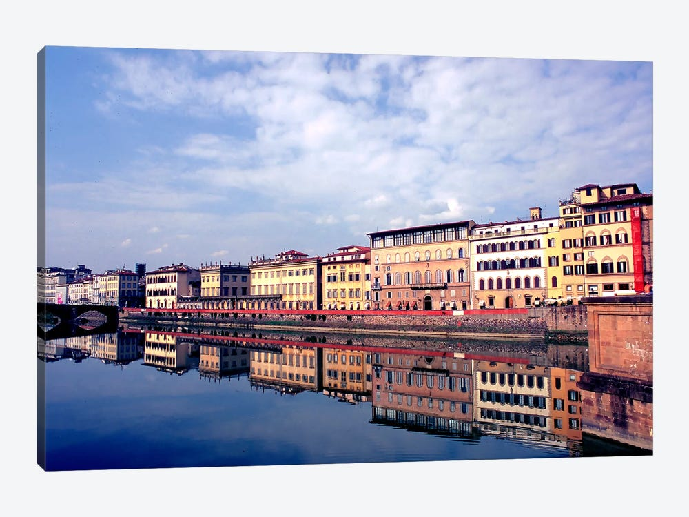 Riverbank Architecture Along Arno River, Florence, Tuscany Region, Italy 1-piece Canvas Wall Art
