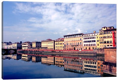 Riverbank Architecture Along Arno River, Florence, Tuscany Region, Italy Canvas Art Print
