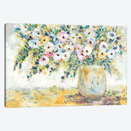 Bowlful of Roses 3-Piece Canvas #REB14} by Roey Ebert Canvas Print