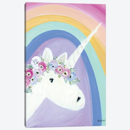Floral Unicorn I 3-Piece Canvas #REB34} by Roey Ebert Canvas Print