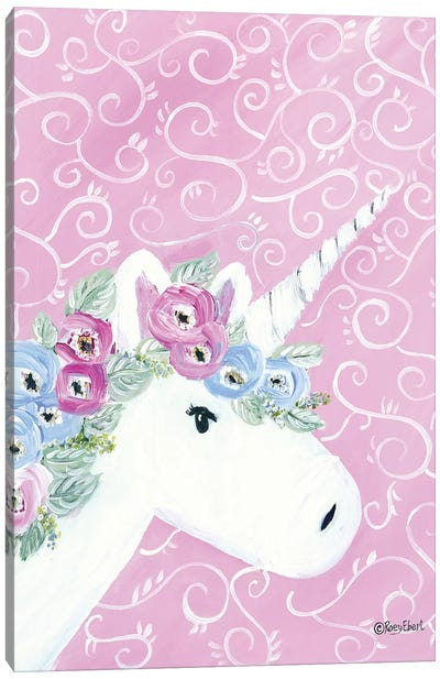 Floral Unicorn II Canvas Art Print