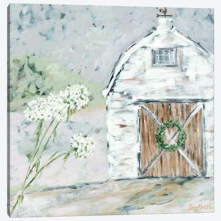 The White Barn Canvas Print #REB51} by Roey Ebert Canvas Artwork