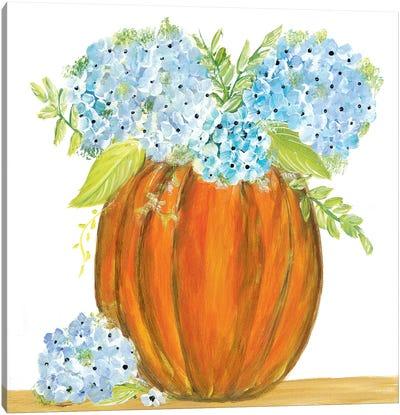 Pumpkin Full of Hydrangeas Canvas Art Print