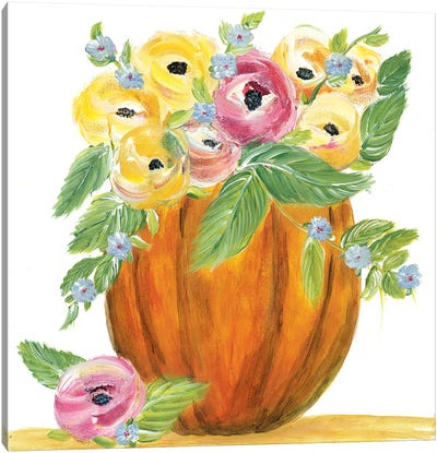 Pumpkin Full of Roses Canvas Art Print