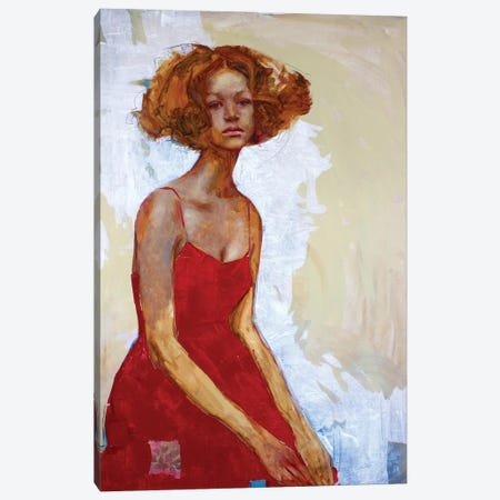 Woman In Red Canvas Print #REC22} by Rosso Emerald Crimson Canvas Wall Art