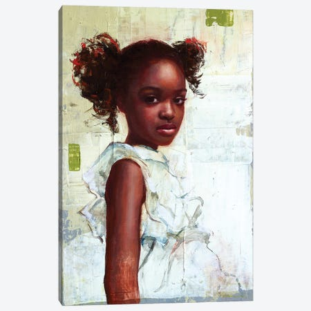 Young Girl In A White dress Canvas Print #REC29} by Rosso Emerald Crimson Canvas Artwork