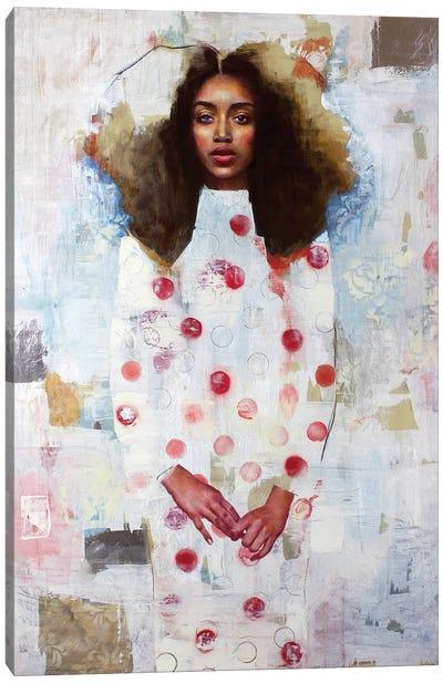 Girl In Polka Dress Canvas Art Print