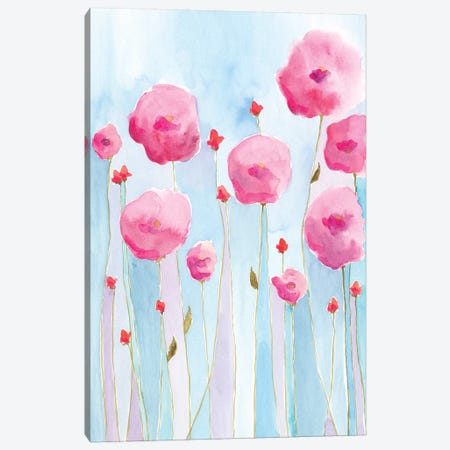 Pink Florets I Canvas Print #REG178} by Regina Moore Canvas Artwork