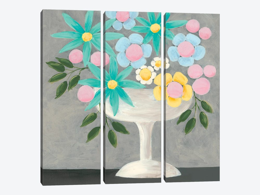 Nouveau Flowers II by Regina Moore 3-piece Canvas Print
