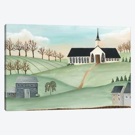 Folk Church Scene II Canvas Print #REG321} by Regina Moore Art Print