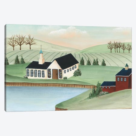 Folk Church Scene III Canvas Print #REG322} by Regina Moore Art Print