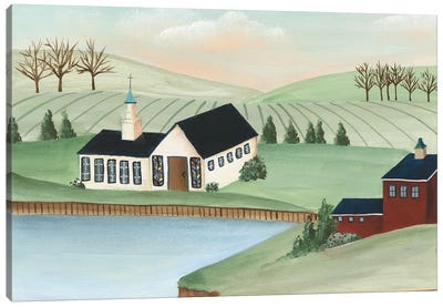 Folk Church Scene III Canvas Art Print