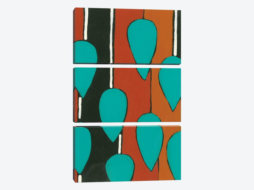 Rust & Teal Patterns V by Regina Moore 3-piece Canvas Print