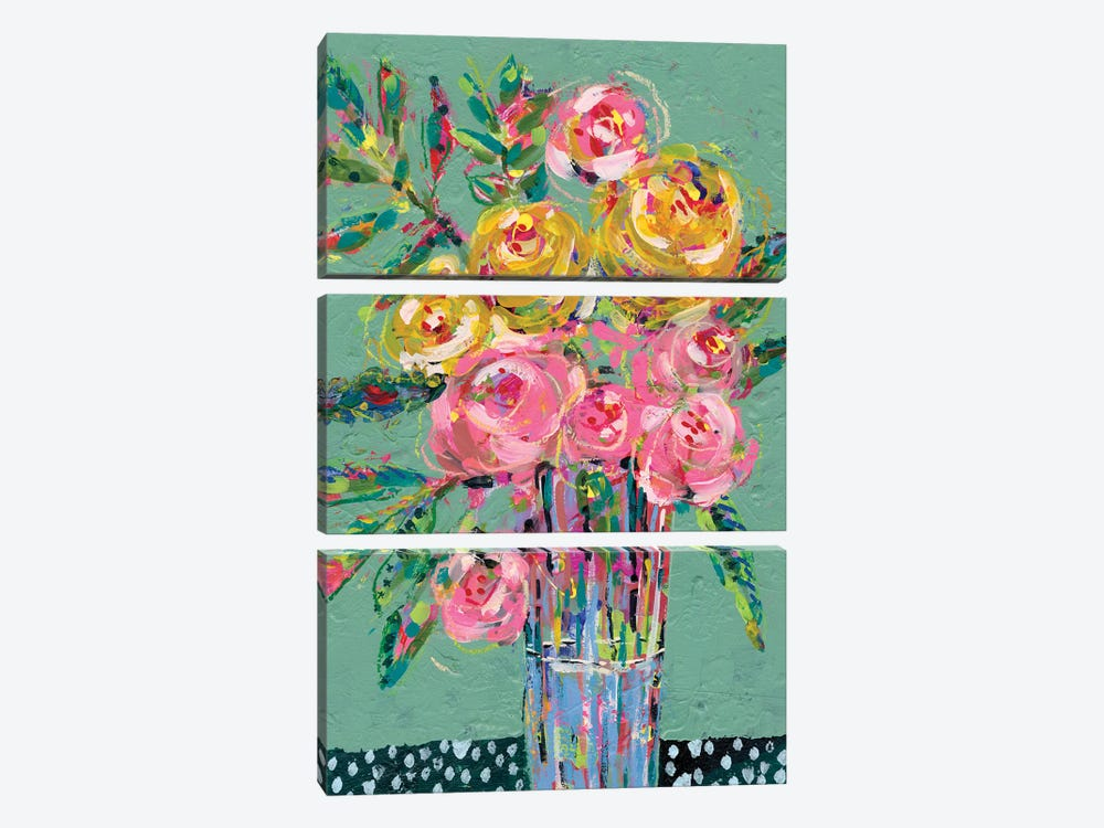 Bright Colored Bouquet II by Regina Moore 3-piece Canvas Wall Art