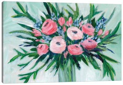 Pink Rosette Bouquet II Canvas Art Print