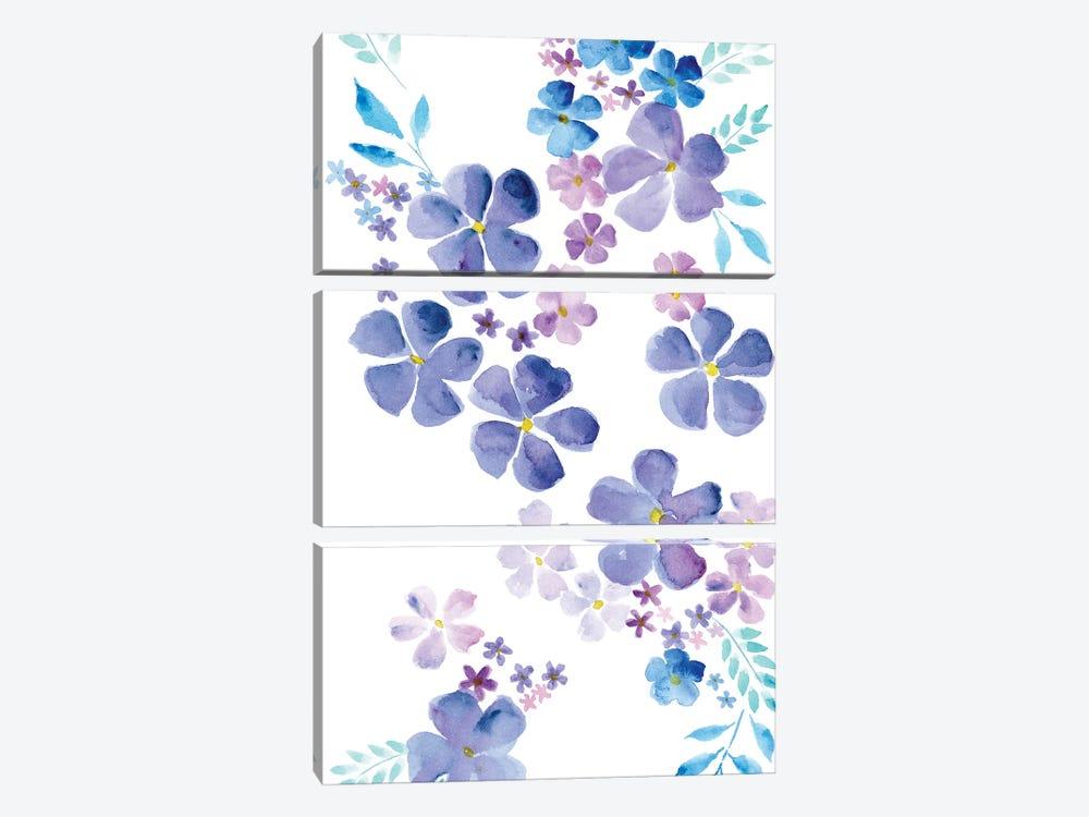 Amethystine Blooms I by Regina Moore 3-piece Canvas Art Print