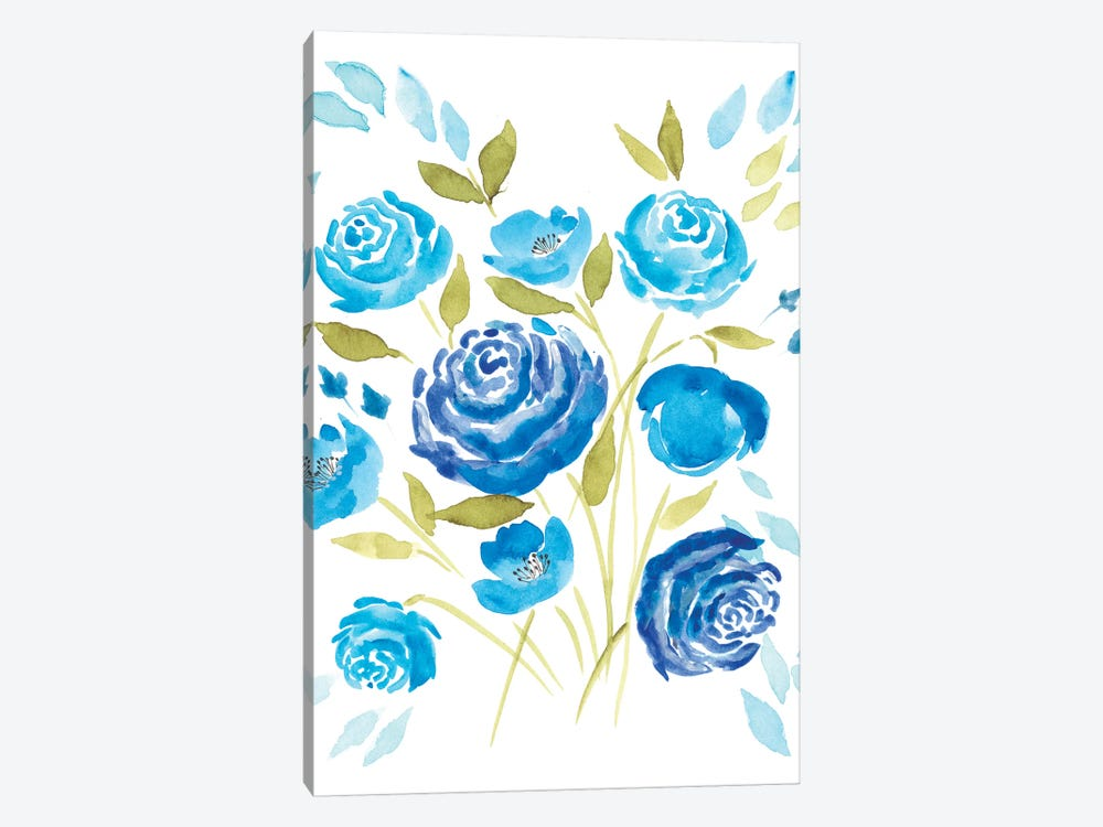 Cerulean Blooms I by Regina Moore 1-piece Canvas Wall Art